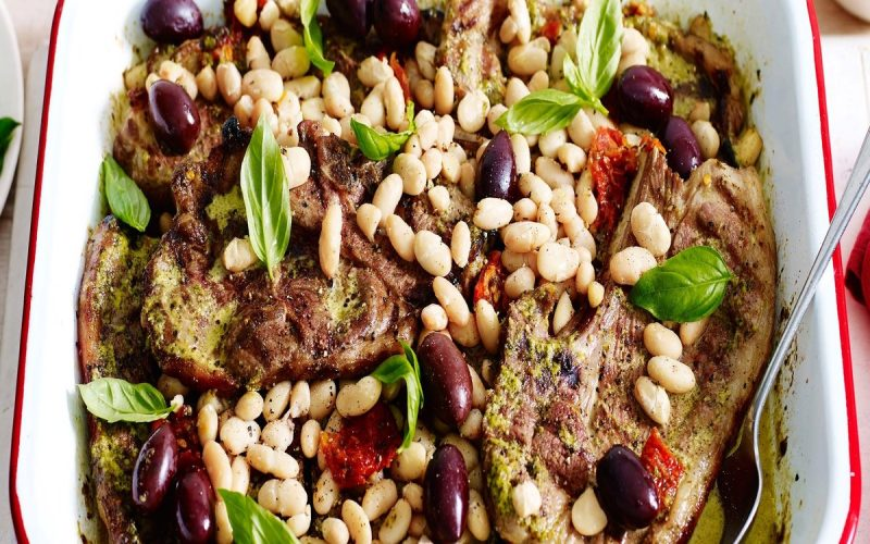 lamb-tray-bake-with-pesto-tomatoes-and-olives-103496-1